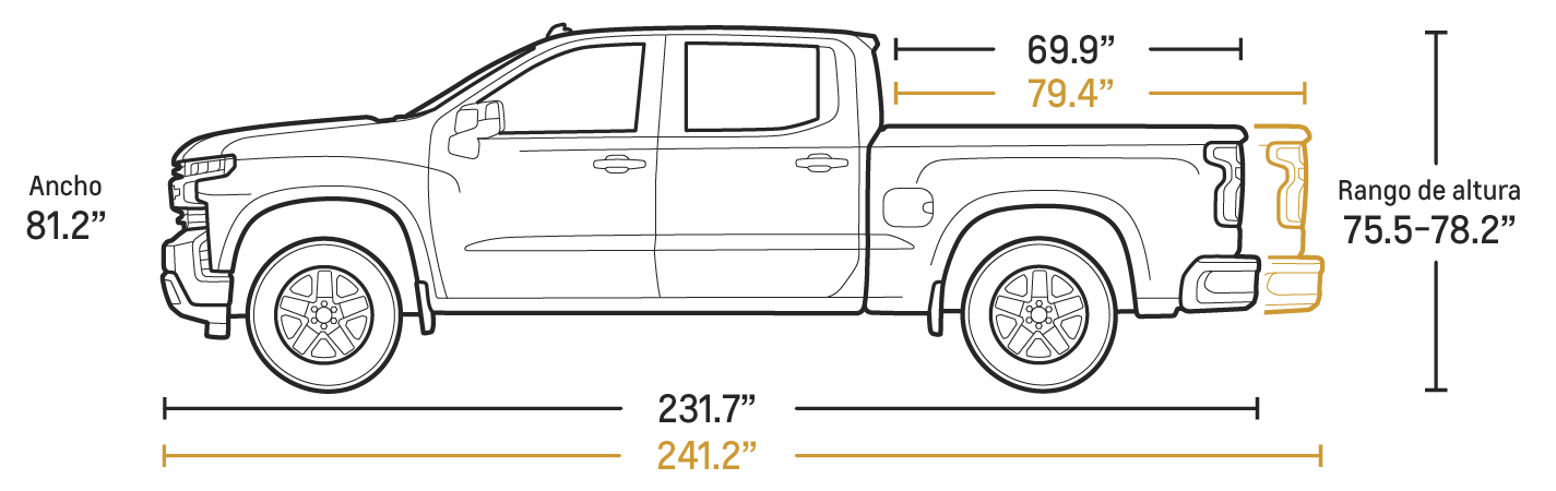 Especificaciones de la cabina extendida de la camioneta pickup Silverado 1500 2020