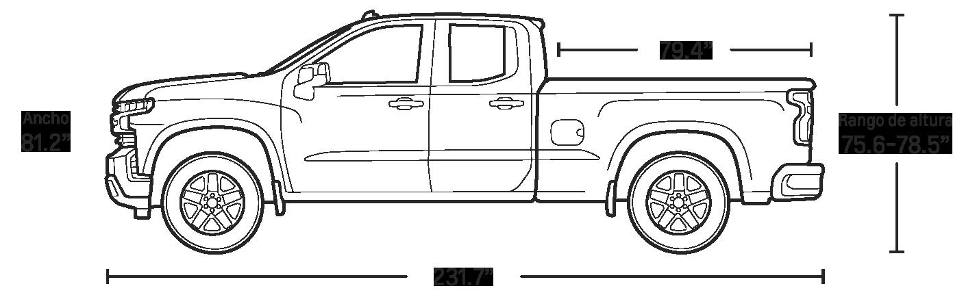 Especificaciones de la doble cabina de la camioneta pickup Silverado 1500 2020