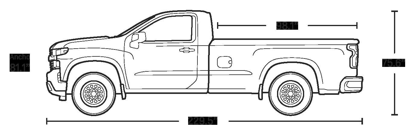 Especificaciones de la cabina regular de la camioneta pickup Silverado 1500 2020