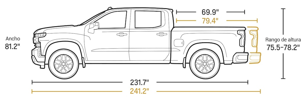 Especificaciones de la cabina extendida de la camioneta comercial de trabajo Silverado LD 2021