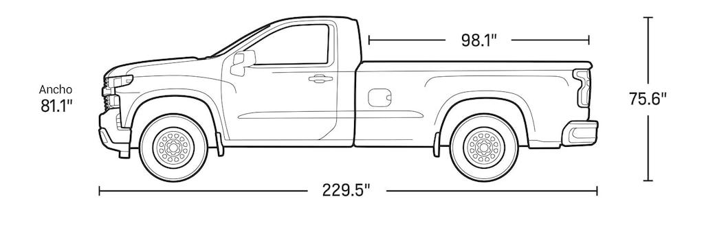 Especificaciones de la cabina regular de la camioneta comercial de trabajo Silverado LD 2021