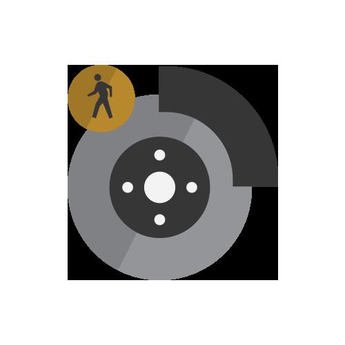 Selección de ícono desistema de frenos por peatón al frente