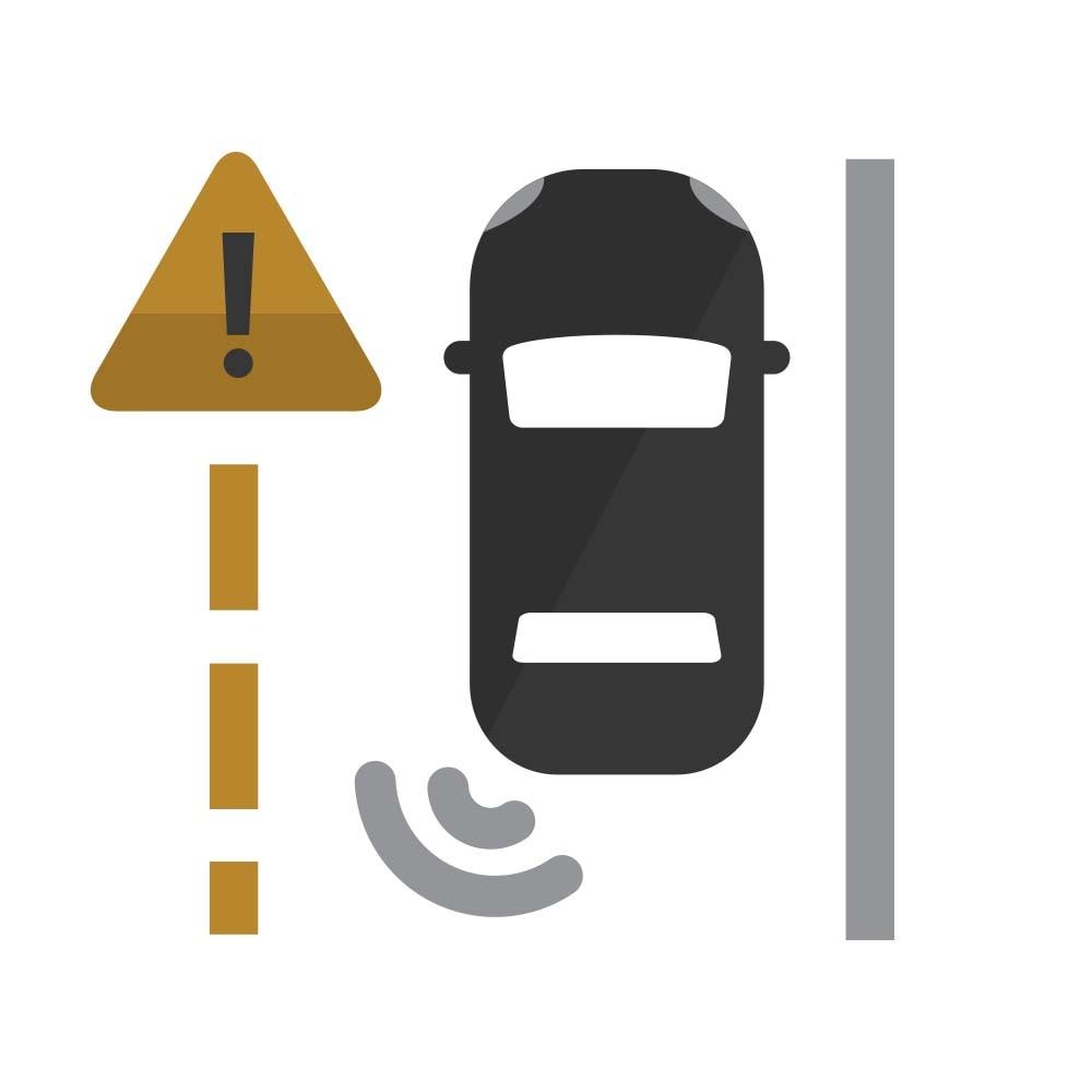 Ícono de la Advertencia de cambio de carril con Side Blind Zone Alert