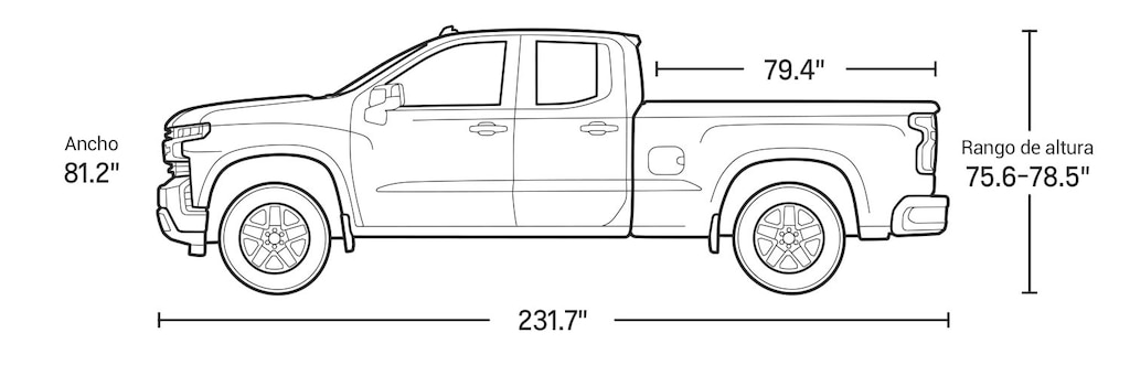 Especificaciones de la doble cabina de la camioneta pickup Silverado 1500 2021