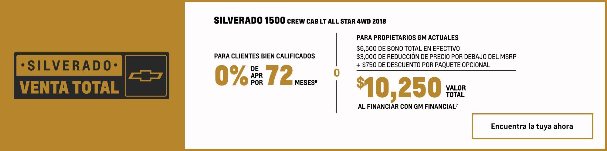 Chevrolet Silverado 1500 2018: 0% APR por 72 meses