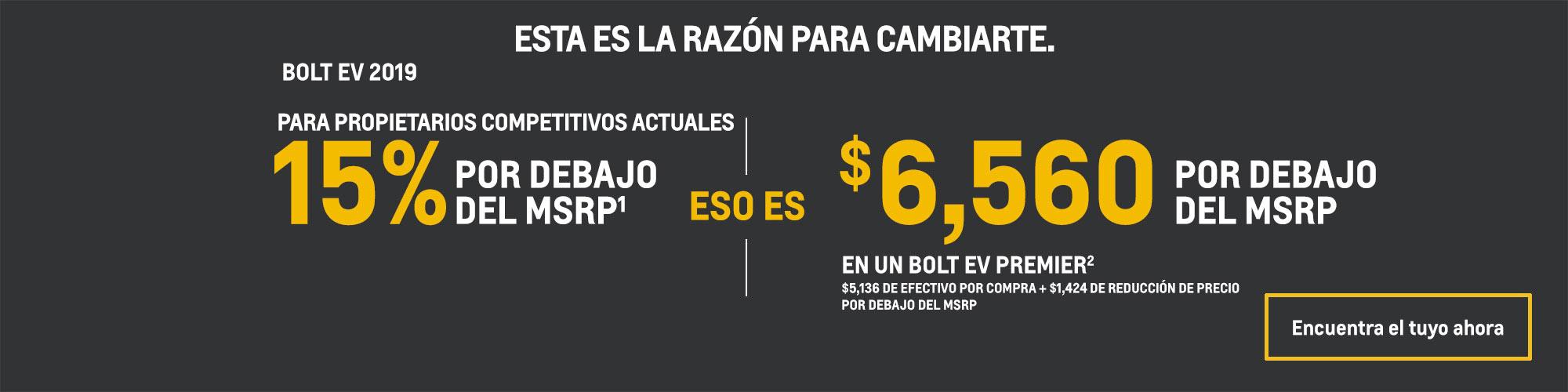 Chevrolet Bolt EV 2019: 15% por debajo del MSRP