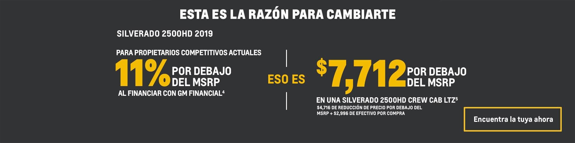 Chevrolet Silverado 2500HD 2019: 11% por debajo del MSRP