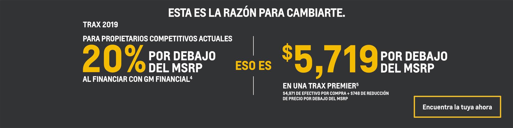 Chevrolet Trax 2019: 20% por debajo del MSRP