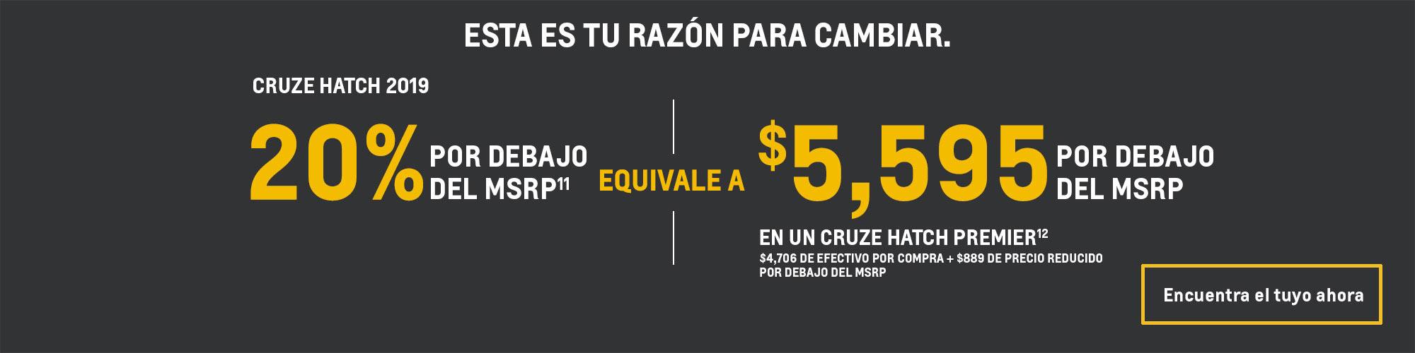 Chevrolet Cruze 2019: 20% por debajo del MSRP
