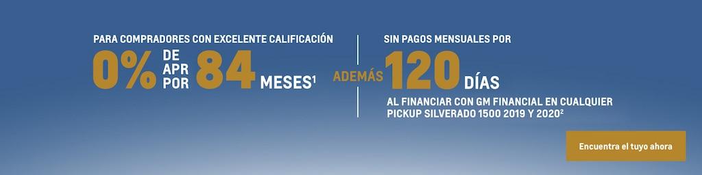 Silverado 2020: Para compradores con excelente calificación. 0% de APR por 84 meses(1) y sin pagos mensuales por 120 días al financiar con GM Financial cualquier pickup Silverado 1500 2019 y 2020(2). Encuentra tu vehículo hoy mismo.