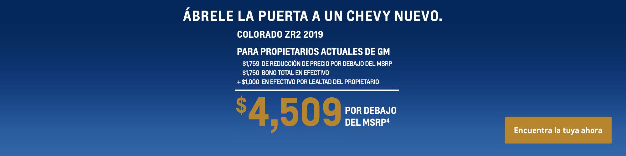 Colorado 2019: $4,509 Por debajo del MSRP