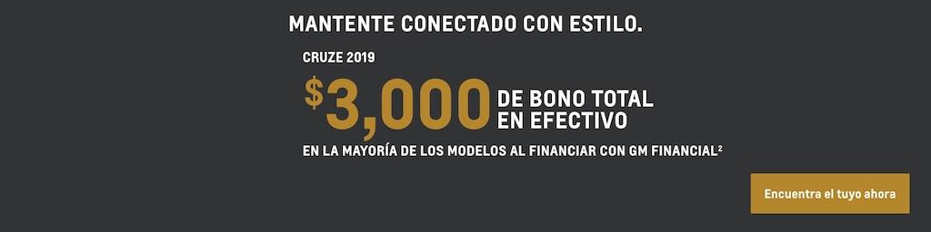 Cruze 2019: $3,000 Bono total en efectivo