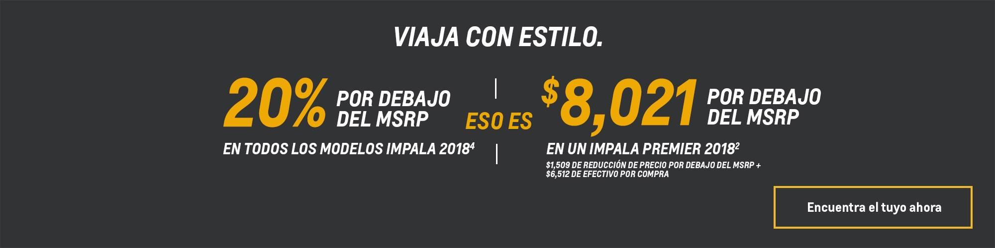 Ofertas de Chevy: Impala 2018 - 20% por debajo del MSRP