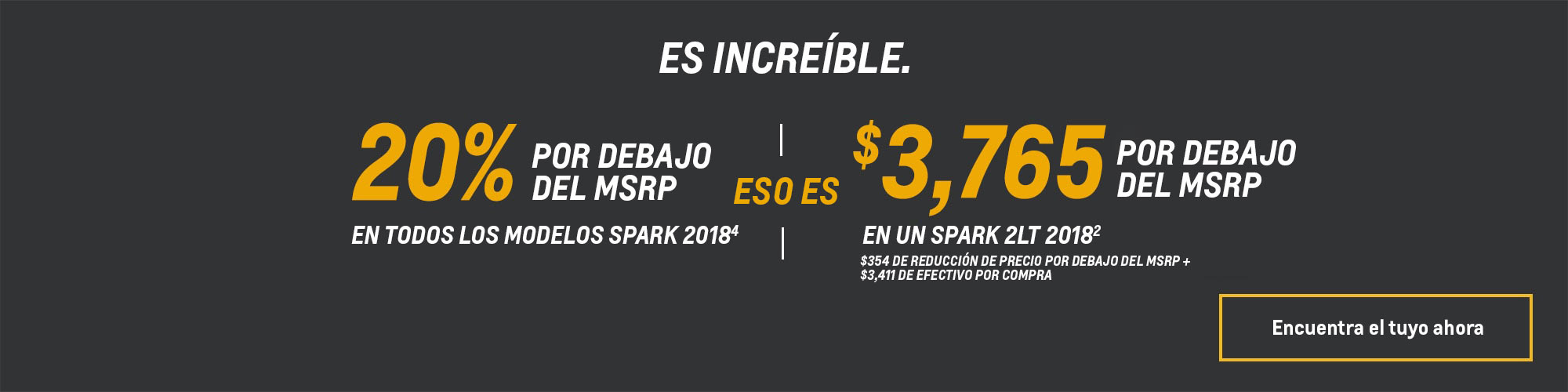 Ofertas de Chevy: Spark 2018 - 20% por debajo del MSRP