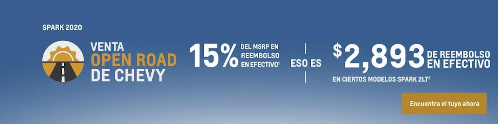Venta Open Road de Chevy - Spark 2020: 12% del MSRP en reembolso en efectivo(1) eso es $2,314 de reembolso en efectivo en ciertos modelos Spark 2LT(2). Encuentra tu vehículo hoy mismo.