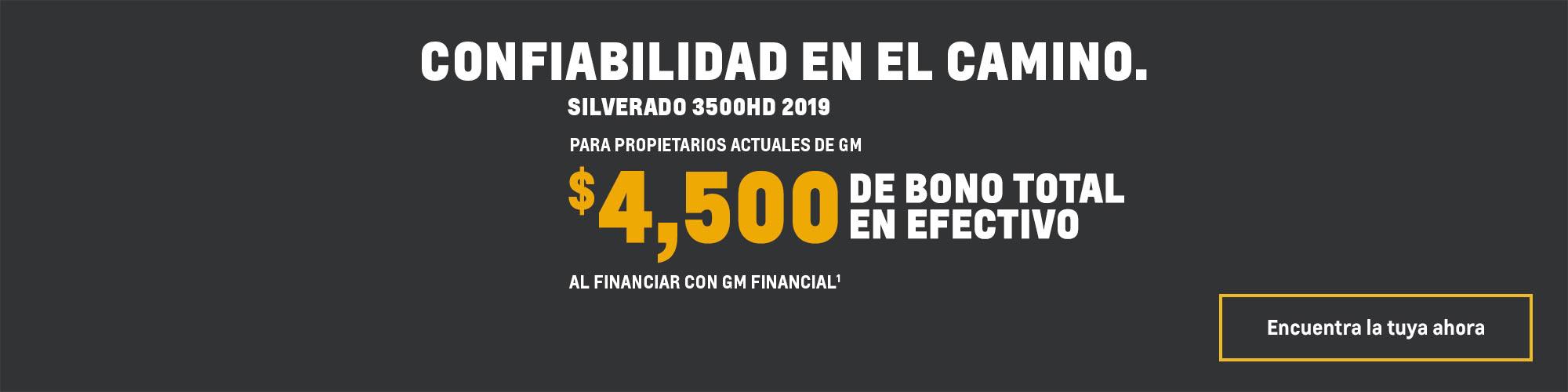 Silverado 3500HD 2019: $4,500 Bono total en efectivo