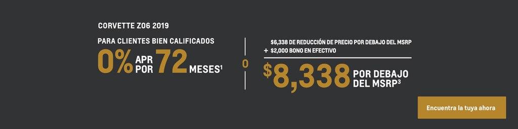 Corvette 2019: 0% APR por 72 meses