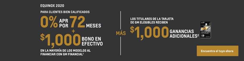 Equinox 2020: 0% de APR por 72 meses + $1000 de bono en efectivo