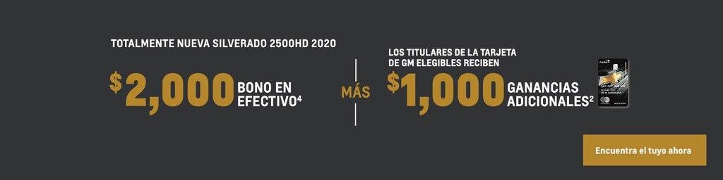 Silverado 2500 HD 2020: $2,000 Bono en efectivo