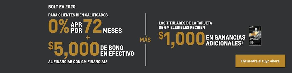Bolt EV 2020: 0% de APR por 72 meses + $5,000 de bono en efectivo
