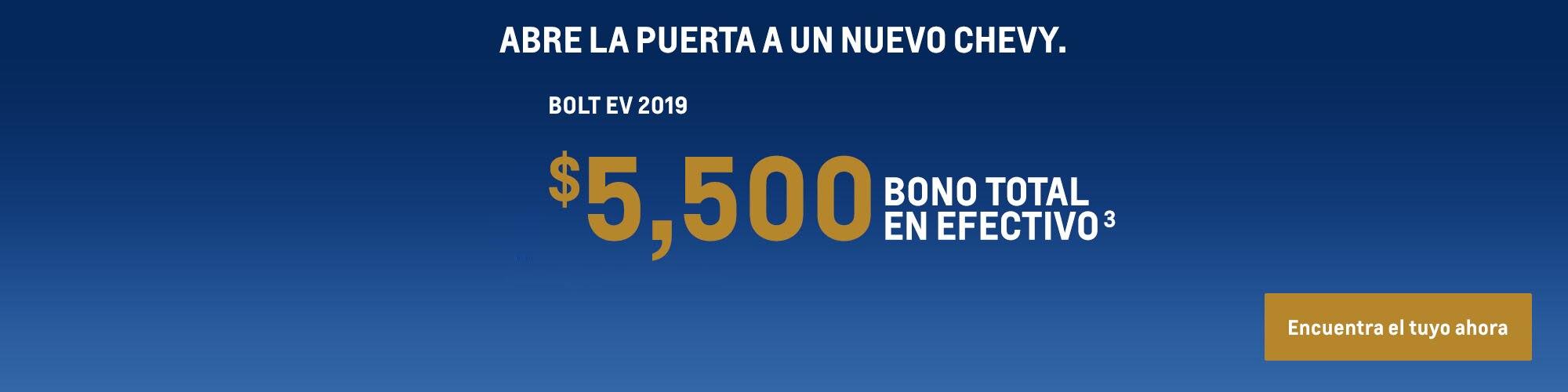 Bolt EV 2019: $5,500 Bono total en efectivo