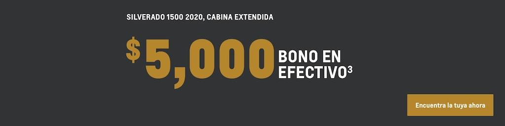 Silverado 1500 2020 con cabina extendida: $5,000 bono en efectivo(3). Encuentra el tuyo ahora.