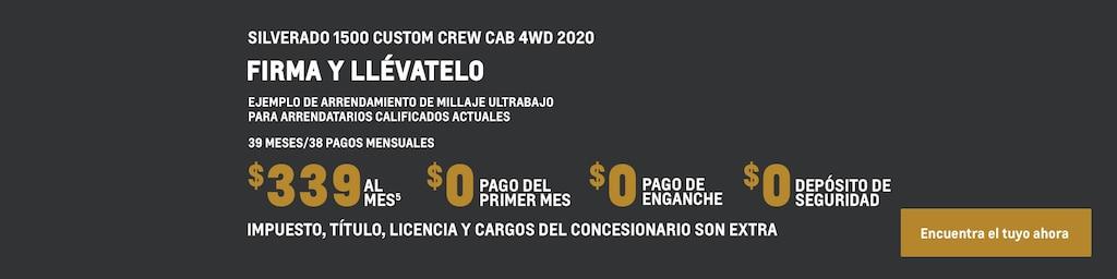 Silverado 1500 Custom 2020 de cabina extendida: Ejemplo de arrendamiento de millaje ultrabajo para propietarios y arrendatarios calificados actuales: 39 meses/38 pagos mensuales $363(5) por mes $0 correspondientes al pago del primer mes $0 de pago de enganche $0 de depósito de seguridad Impuesto, título, licencia y cargos del concesionario son extra. Encuentra tu vehículo hoy mismo.