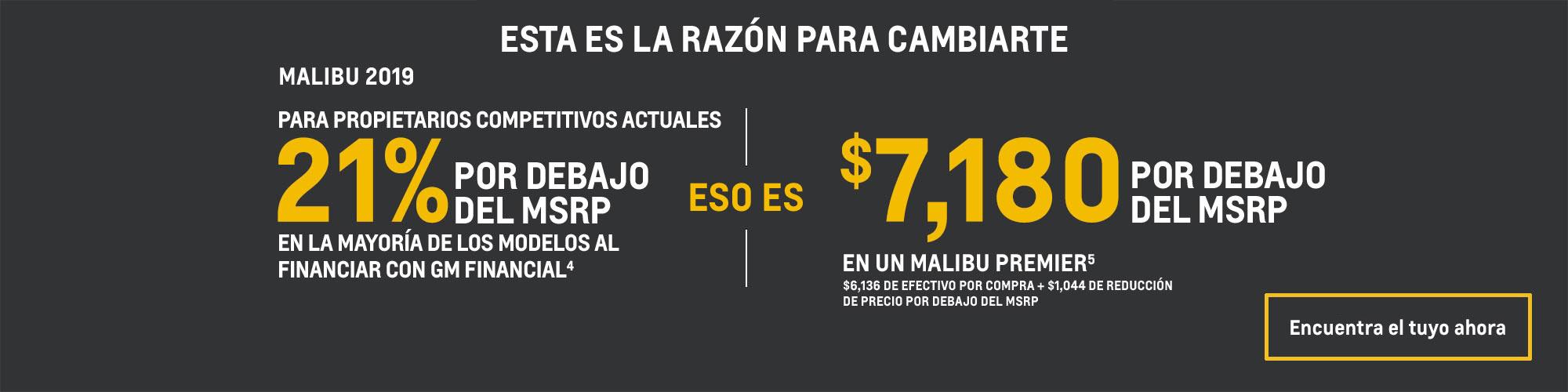Chevrolet Malibu 2019: 21% por debajo del MSRP