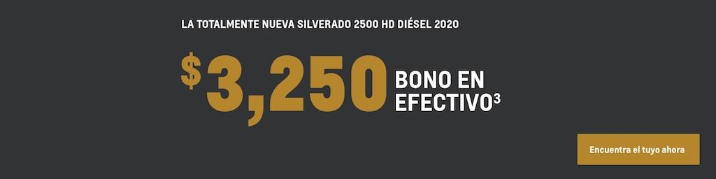 Silverado 2500 HD 2020: $3,250 Bono en efectivo