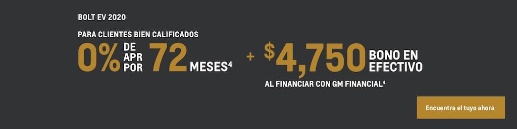 Bolt EV 2020: 0% de APR por 72 meses + $4,750 de bono en efectivo