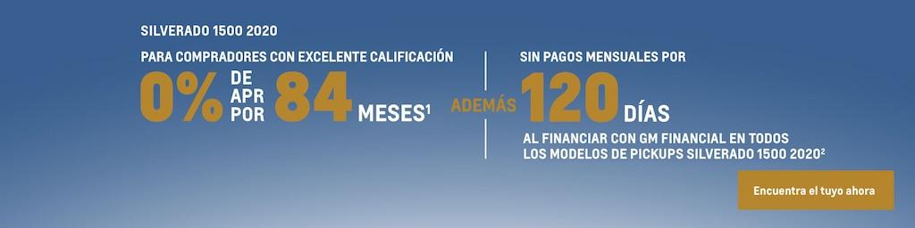 Silverado 2020: 0% de APR por 84 meses + pago diferido por 120 días