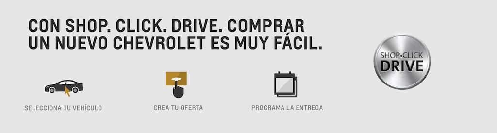 Con Shop. Click. Drive. comprar un nuevo Chevrolet es muy fácil. Selecciona tu vehículo. Crea tu oferta. Programa la entrega.