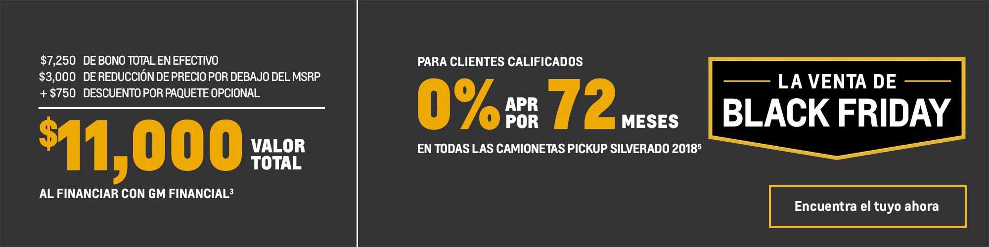 Ofertas Black Friday de Chevy: Silverado 1500 2018: $11,000 0% de APR